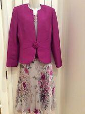 Jacques Vert Grey, Pink, Purple 3 Piece Suit,Top,Skirt & Jacket,12, Occasion