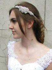 plata perla blanca pedrería Abalorio Diadema Vintage Boda o ceremonia Flapper