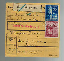 1941 Lublin Poland Parcel Receipt Cover to Lublin Concentration Camp Ghetto KZ
