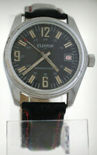 Vintage 1960s Clinton Dive Watch 6 Atm Diver Date 36mm 17j Military 24 hr