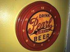 ***Pearl Texas OldLogo Beer Bar Advertising Man Cave Red Wall Clock Sign
