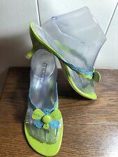 Vtg? MODA Spana Retro Mod Patent FLOWER Green/Blue Heeled Thong Sandals SIZE 8M