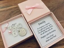 LUCKY SIXPENCE CHARM, THIRTEEN, 13th BIRTHDAY gift, teenager, PERSONALISED