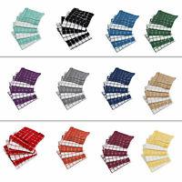 Kitchen Dish Towel Windowpane Absorbent 12x12 6 Pcs Set Machine Washable Cotton