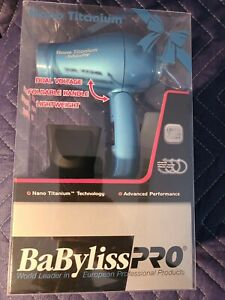 Babyliss Pro Nano Titanium Hair Dryer Mini Blue New in Box
