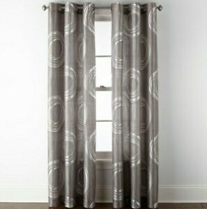 (1) JCPenney Home Focus  WARSAW GREY PEARL Light Filter Grommet Curtain 50 x 84