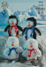 KNITTING PATTERN Adult &Baby Penguin Soft Toys TinselChunky KNITTINGPATTERN 9025