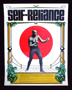 1973 Rare Vintage SELF-RELIANCE Poster JACK JOHNSON Boxing African American