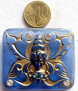 OLD VINTAGE BUTTON - SAPPHIRE BLUE BUTTERFLY  LADY - signed CZECHO