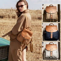 Women's Canvas Real Leather Drawstring Small Mini Backpack Rucksack bag Purse