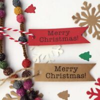 50 Pcs Kraft Paper Hang Tags Label Xmas Gift Card String Merry Christmas lskn