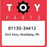 81130-3A412 Toyota Unit assy, headlamp, rh 811303A412, New Genuine OEM Part