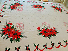 Christmas Table Cloth Glowing Gold Candles Poinsettias Red Green 52x62 Vtg tc8