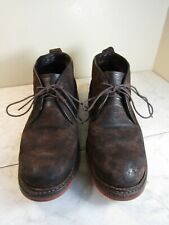 Frye Boots Dark Brown Textured Leather Chukka Boots Men's Size 10.5 D