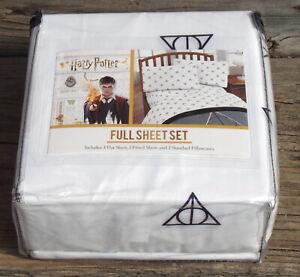 NEW Harry Potter 4 piece FULL size sheet set Deathly Hallows Pattern NIP
