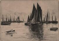 ALFRED RICHARD BLUNDELL (1883-1968) Signed Etching LOWESTOFT HARBOUR c1920