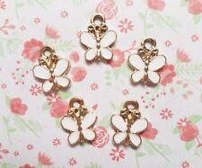 5pcs x Cute Butterfly Enamel Metal Alloy CHARM Pendants DIY Jewellery