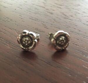 Georg Jensen Small Flower Earrings Design 21 Sterling Silver Denmark