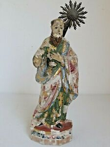 """Antique Mexican Santo Figure Hand Carved Original Paint 13"""" Tall 18th c."""