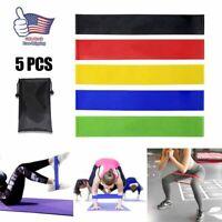 5x Resistance Fitness Yoga Bands Strap Loop Elastic Gym Excercise Sport Workout