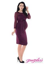 Purpless Maternity Elastic Sheer Mesh Heart Shaped Cleavage Pregnancy Dress D012 Plum UK 16