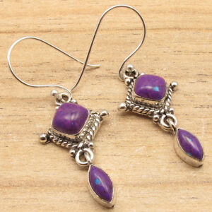 925 Silver Plated Authentic Gemstones Antique Style Earrings Present