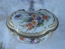Vintage 1930's-40's Jewelry /Trinket Box Mixed Bouquet GOLD Sword on Bottom Rare
