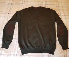 "TODS MENS LUXURY JUMPER / SWEATER - GREEN + ELBOW PATCHES - 44"" CHEST - £390 RRP"