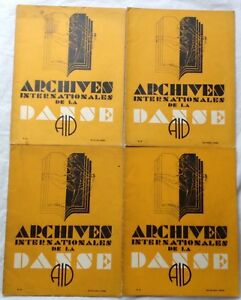 "AID revue ""ARCHIVES INTERNATIONALES DE LA DANSE"" lot de 4 numéros 1933-34 RARE!"