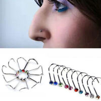 Rhinestone Screw Surgical Steel 10Pcs Nose Hoop Ring Studs Body Piercing Jewelry