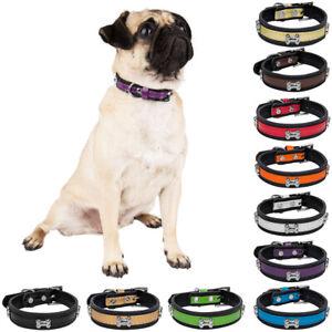 CueCuePet Adjustable Buckle Leather Cute Alloy Bone Studded Pet Puppy Dog Collar