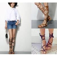2018 Women Flat Knee High Boot Gladiator Sandal Lace Up Roma Flip Flops Shoes Sz