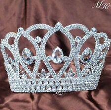 "Stunning Wedding Tiara 3.5"" Bridal Crown Clear Rhinestone Headband Pageant Party"