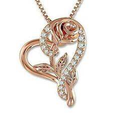 Love heart Rose Gold  with zirconia Pendant Couple Necklace Valentine Day