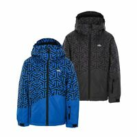 Trespass Boys Ski Jacket Black Blue Waterproof Coat Kids 2-12 Years