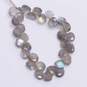 "Natural Labradorite Gemstone Heart Shape Faceted Beads 4X4 mm Strand 4"" DK-1642"