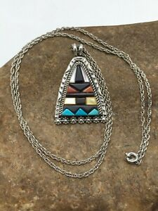 "Navajo Indian Sterling Silver Handmade Turquoise Multicolor Pendant 1.75"" 4093"