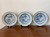 Set of Three Antique Chinese Qianlong Porcelain Plates w Flower Decor