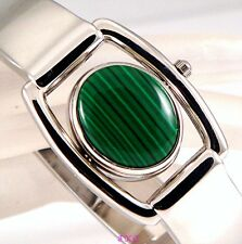 Vintage Deco Silver Green Malachite, Agate Fob, Flip Spinner Ladies Bangle Watch