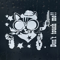 Funny Cartoon Crazy Cowboy Cat Guns Up Don't Touch Me Car Decal Vinyl Sticker