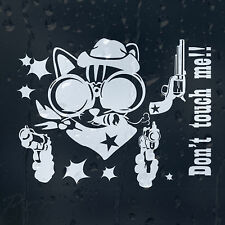 Funny Cartoon Crazy Cowboy Cat Guns Up Don't Touch Me Car Decal Vinyl Sticker