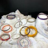 Bangle Stretch Bracelet Job Lot Collection Silvertone Yellow