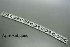Vintage art deco German silver M.J.CO green enamel glass bracelet