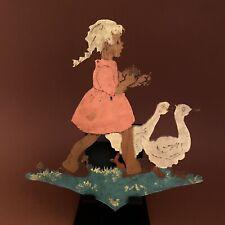 1940er Kinder-Holzbild: Rosa Zopf-Mädchen 16cm SHABBY CHIC Deko Wand Figur Alt
