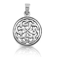 Men's / Unisex Celtic Knot Round Halo Sterling Silver Pendant