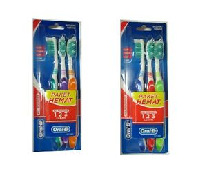 Toothbrushes Oral-B Med All Rounder Tooth, Tough, Gum Clean 3-Pack ( Lot of 2 )