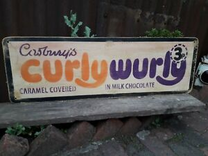 CADBURYS CURLY WURLY CHOCOLATE SIGN FRYS SWEET SHOP PROP MANCAVE DECOR ROWNTREES