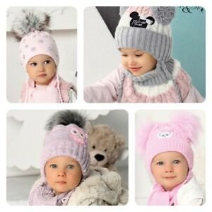 NEW Cute Kids Toddler Girls Hat Knitted Winter Hooded Cap with Scarf Tie up Warm