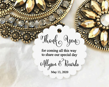 10 White Gift Tags Wedding Favour Bomboniere Personalised Thank You for coming