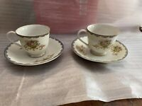 Vintage Cherry China Made In Japan Set Of Two Tea Cups And Saucers